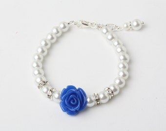 Royal blue Flower girl bracelet, pearls and crystal bracelet, royal blue wedding jewelry, Royal blue bracelet, blue flower girl gift