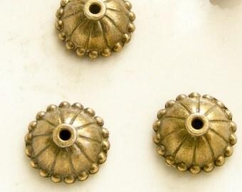 Antique Brass Bead Caps (Qty 14) 10x4mm MW-P5353