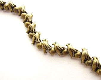 Metal Bird Beads / Large Hole Beads / Brass Bird