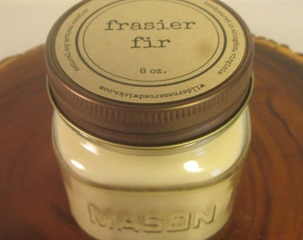 Frasier Fir 8 oz. Soy Mason Jar Candle // Wood Wick // Christmas/Holiday/Woodsy Scent
