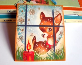 Small Ready to Frame Christmas Print * Little Deer Baby Spotted Fawn Jingle Bells Looking In The Window Candle Christmas Holiday Decor
