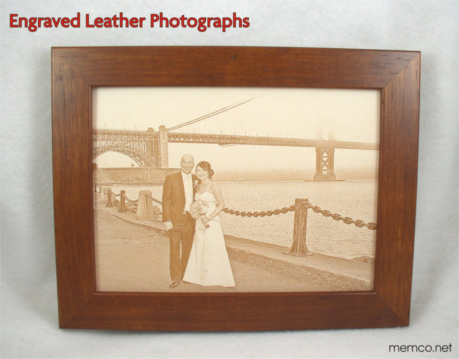 3rd Wedding Anniversary Leather Gifts: Photograph Engraved In REAL LEATHER Leather Anniversary Gift