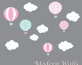 Hot Air Balloon Nursery-Hot Air Balloon Decals-Hot Air Balloon and Cloud Decal-Wall Stickers-Girl-Bedroom-Nursery Decor-Art
