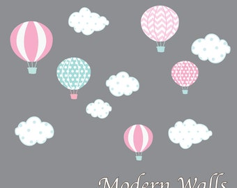 Hot Air Balloon Nursery-Hot Air Balloon Decals-Hot Air Balloon and Cloud Decal-Wall Stickers-Girl-Bedroom-Nursery Decor-Art-e101