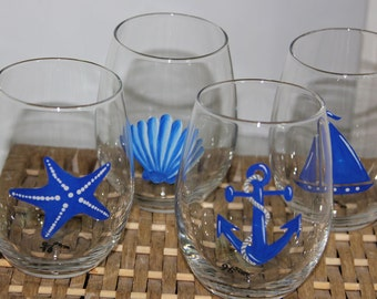 Hand Painted Wine Glasses, Nautical, Stemless