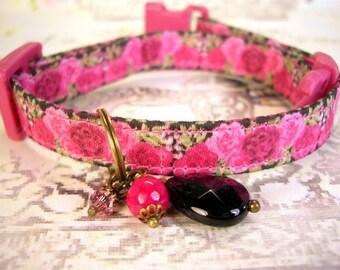 Safety Cat Collar - Breakaway Collar - Toy Dog Collar - Small Dog Collar - Pink Roses Collar - Gemstone Charm Collar - Dark Pink Roses