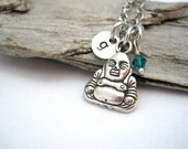 Personalized Buddha Necklace - Choose Initial and Birthstone - Yoga Necklace - Silver Buddha Necklace - Personalized Gift
