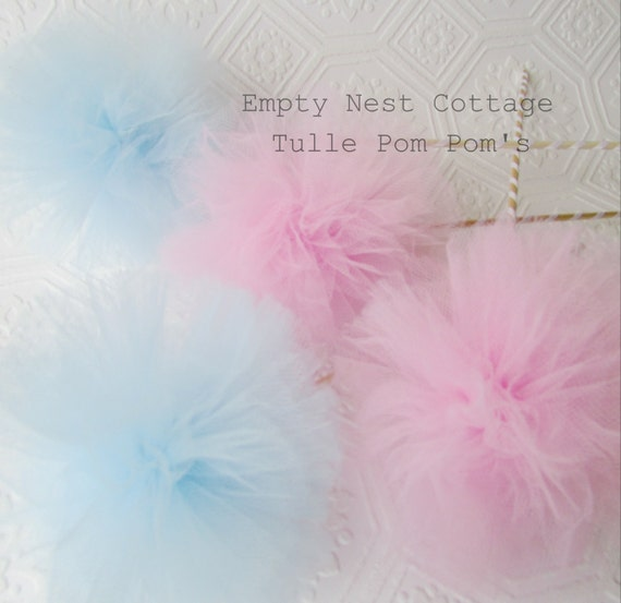 6 Tulle Pom Poms Centerpieces Party By Emptynestcottage On