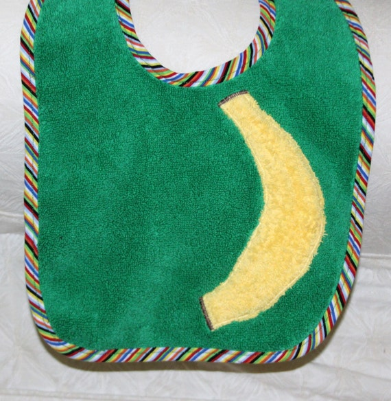 Baby Boy Bib or Baby Girl Bib with a Banana on a Green Bib with Fun Colorful Striped Trim Perfect for Gender Neutral Baby Shower Gift