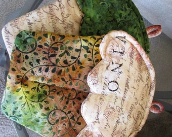 Handmade Cupcake oven mitts set of 2 with brown and green batik wine vino themed oven mitts pot holders