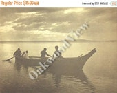 ON SALE Homeward Print by Edward S. Curtis, Dugout Canoe, Native American Indian, Vintage 14x17 Sepia Book Plate, Tribal Ethnic, Free Shippi