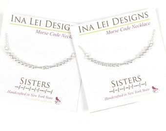 2 SISTERS Morse Code Necklace for Big Sister, Little Sister, Sorority Sister, Sister Necklaces for 2, two, Twin Sisters Necklace