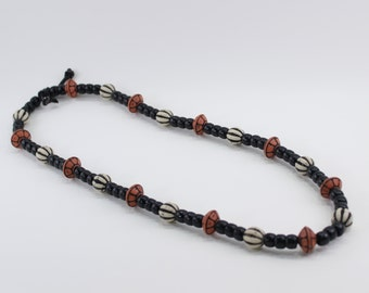 Vintage Opaque Black Ivory Off White Rust Burgundy Hard Plastic Beaded Matinee Length Necklace