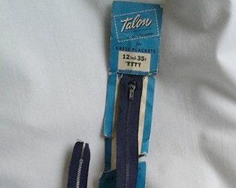 Vintage 1947 Navy Blue Talon 12 inch Zipper