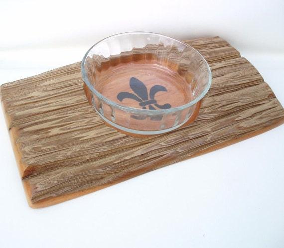 Cypress driftwood fleur de lis decor wooden tray serving - Fleur de lis serving tray ...
