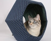 Cat Ball - hexagonal pet bed and kitty furniture made in the USA with navy and teal cotton fabrics