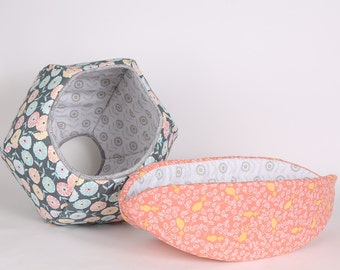 Coordinating Cat Bed set in grey and melon color cotton fabrics - pet beds from the Lilly Collection