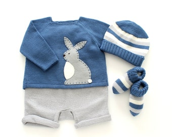 knitted baby set, baby sweater, knitted cap, baby socks, baby short pants, baby clothes,tenderblue, baby outfit, 100% merino wool, 3 months.