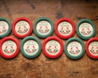 Vintage Waxed Paper Red and Green Milk Bottle Caps (Set of 10) - New Old Stock - Great for Projects, Mixed Media!