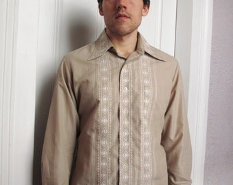 70's Vintage Men's Mod Embroidered Dress Shirt XL French Cuffs