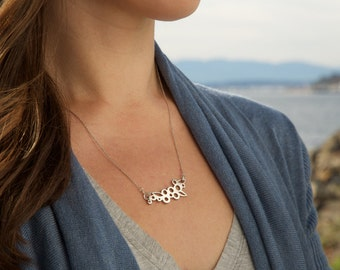 Horizontal Leaves & Berries Necklace in Sterling Silver
