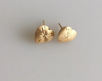 1980s Gold HEART Studs with Etched Stars