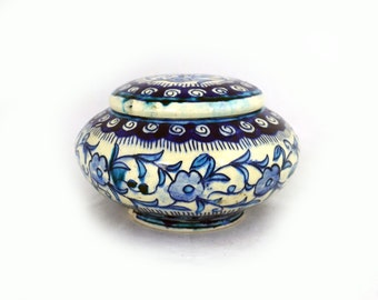 Vintage Jaipur Indian hand painted blue and white earthenware trinket bowl