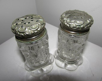 Salt and Pepper Victorian Crystal and Silver Plate