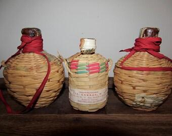 Wicker Demijohn Tequilla Bottles with Handle