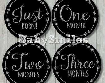 FREE GIFT Monthly Baby Stickers Baby Month Stickers Baby Photo Stickers Monthly Milestone Stickers Months - Silver Glitter Tribal Arrows