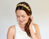 Crown Headband Adult Size, Bridal Shower Crown, Princess Tiara, Crochet Crowns and Tiaras, Flower Girl Tiara, Gold Crown, Bridal Crown Tiara