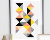 Geometric print, Abstract art, Watercolor print, Scandinavian print, home decor, wall art, minimalist poster, nursery print, modern art