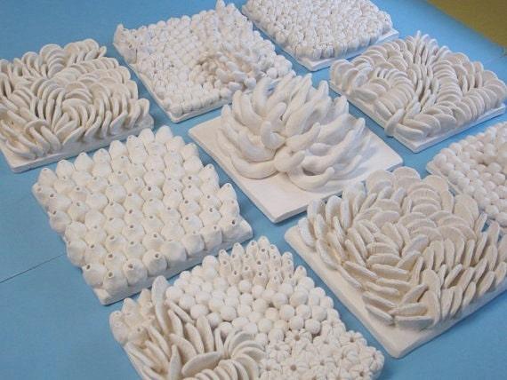 "Large 8"" ocean Tile Backspash, Custom Order - coral and reef ceramic art tile, Ceramic Wall Sculptures , beach art, coral art, wall hanging"