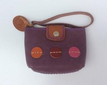 Purple Leather Coin Purse, Mini Zipper Pouch, Card Holder, Leather Pouch, Small Coin Purse