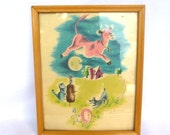 VIntage NURSERY KITSCH ART/Cow Jumped Over the Moon