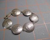 Vintage Stamped Silver Tone Disc Bracelet