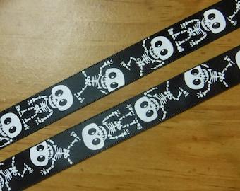 Black Skeletons Ribbon 3 Yards