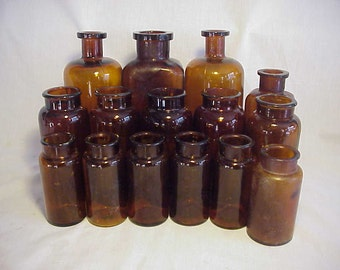 c1890-1910 Group of 14 Cork Top Amber Glass The National Drug Co. Philadelphia, PA. Medicine Bottles, Great for Wedding Decor