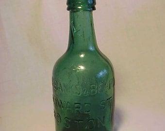 c1860s Fairbanks & Beard Howard St. Boston, Mass., Dark Teal Green Squatty Cork Top Mineral Water Soda Bottle No. 2
