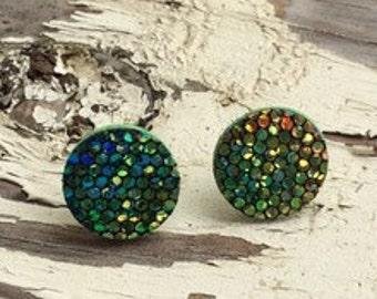Green Iridescent Printed Leather Stud/Button Earrings