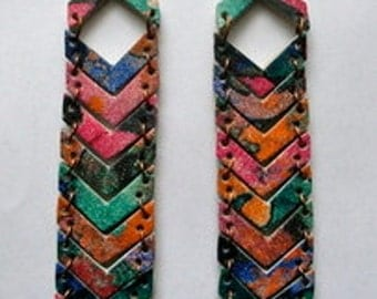 Multi Abstract Printed Leather Chevron Earrings