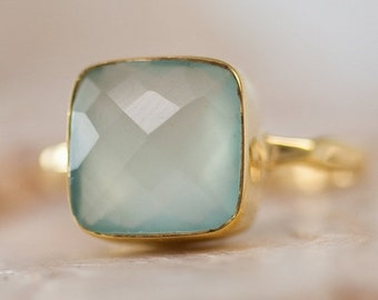 WINTER SALE - Aqua Blue Chalcedony Ring - Gemstone Ring - Stacking Ring - Gold Ring- Cushion Cut Ring