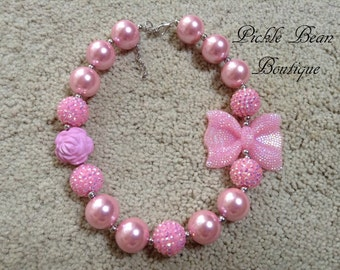 Bubblegum Necklace, Pink Chunky Necklace, Chunky Baby Necklace, Girls Kids Necklace, Pink Bubble Gum Necklace, Bubblegum Necklace