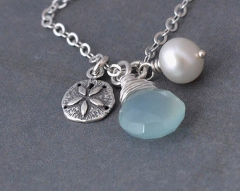 Sterling Silver Sand Dollar Necklace, Aqua Chalcedony, Freshwater Pearl, Sterling Silver Chain