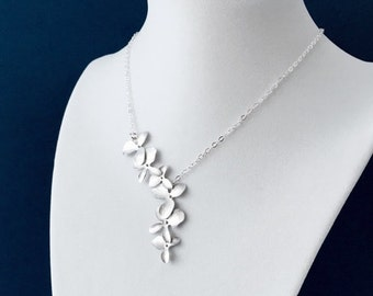 Elongated Silver Orchid Flower Necklace, Sterling Silver Chain, Gift for Her