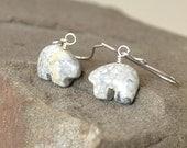 Bear Earrings, Animal Jewelry, Jasper Earrings, Gray White Earrings