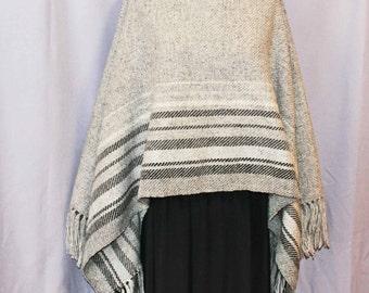 Gray wool handwoven shawl, poncho, hand woven wool wrap