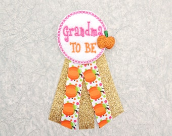 Gold pumpkin baby shower - Glitter corsage baby shower - Pumpkin baby shower - Grandma hospital gift - Grandma to be pin