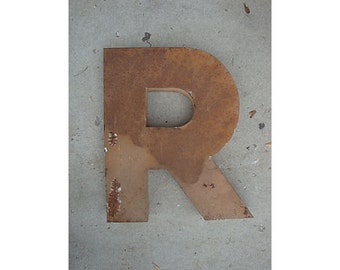 "Vintage Large Metal Letter ""R"" Sign"