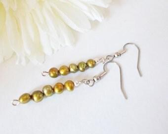 Olive Green Freshwater Pearl Earrings, Natural Earrings, Beach Earrings, Pearl Drop Earrings, Dangle Earrings, Copper Green Earring, Clip On